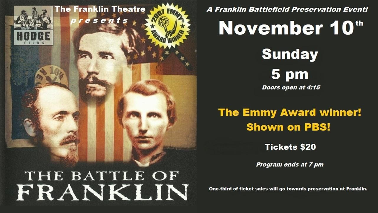 Franklin Theatre - Franklin Battlefield Preservation event! A rare